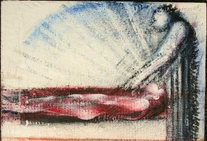Michael Chaitow artist, painter, artwork, original artwork, painting. Burying the Dead (Mark 14:6-8)