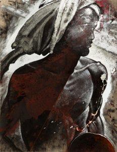 Michael Chaitow artist, painter, artwork, original artwork, painting. Indian Leaves, Indian Beggar, oli 2012