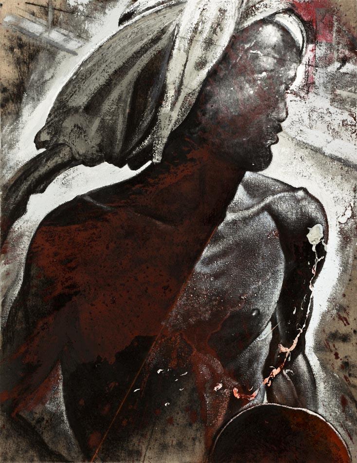 Michael Chaitow artist, painter, artwork, original artwork, painting. Indian Beggar, oil 2012.