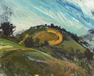 Michael Chaitow artist, painter, artwork, original artwork, painting. Towards Kelston, oil 2015, 65 x 70 cm