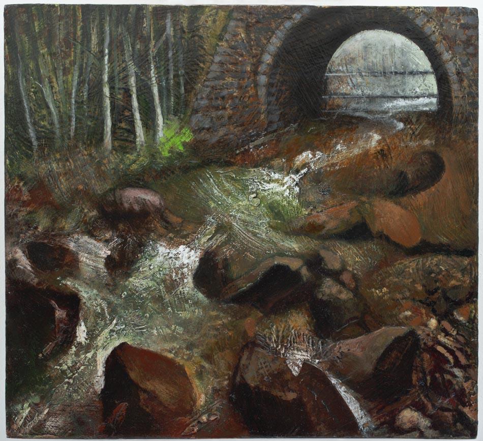 Michael Chaitow artist, painter, artwork, original artwork, painting. Welsh Stream, oil 2014.