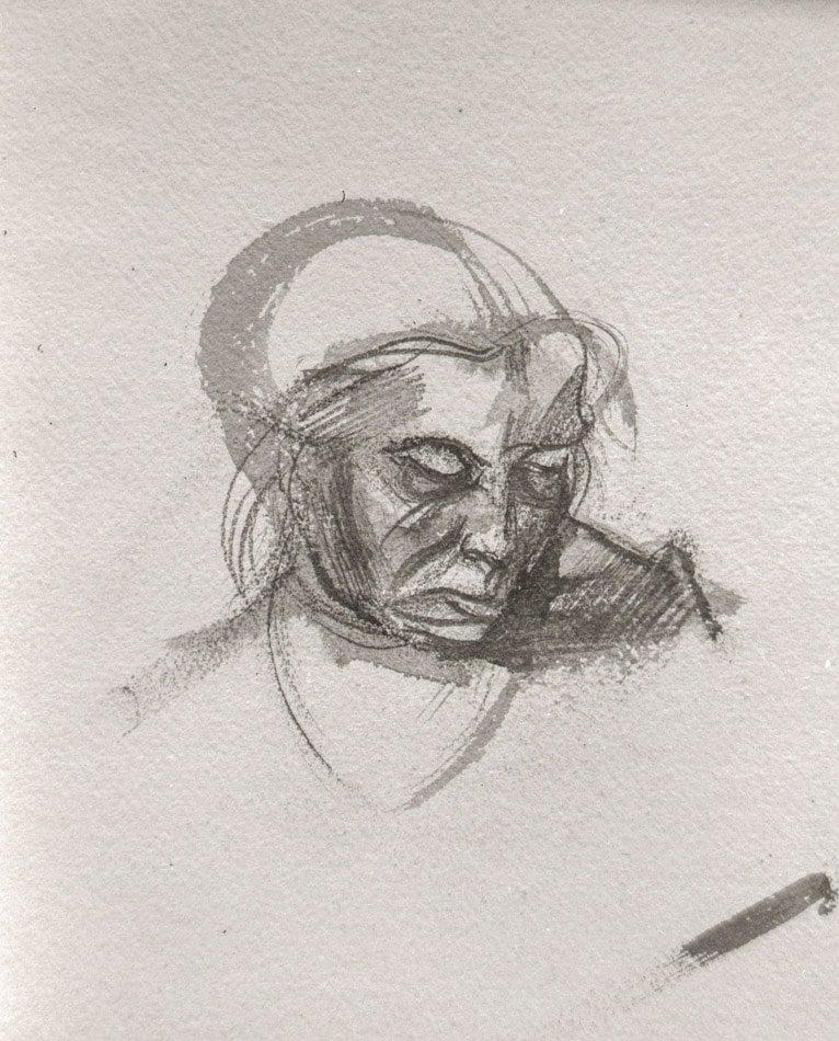 Michael Chaitow artist, painter, artwork, original artwork, painting. Indian Woman III, brush and wash 1973.