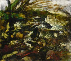 Michael Chaitow artist, painter, artwork, original artwork, painting. Devon Stream, oil 2002, 68 x 75 cm