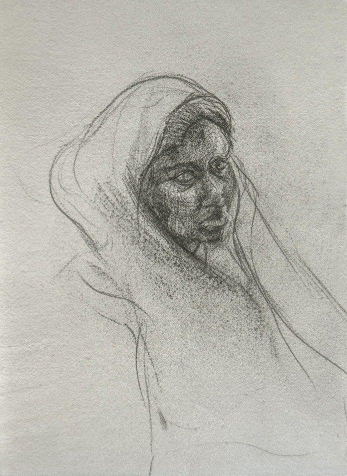 Michael Chaitow artist, painter, artwork, original artwork, painting. Anima India, pencil 1973.