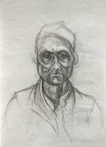 Michael Chaitow artist, painter, artwork, original artwork, painting. Indian Leaves, Indian Man II, pencil 1973
