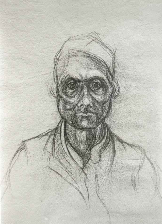 Michael Chaitow artist, painter, artwork, original artwork, painting. Indian Man II, pencil 1973.