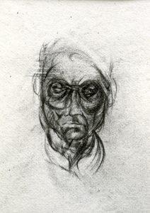 Michael Chaitow artist, painter, artwork, original artwork, painting. Indian Leaves, Indian Man III, pencil 1973