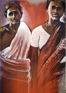 Michael Chaitow artist, painter, artwork, original artwork, painting. Indian Leaves, Two Women, oil 2001
