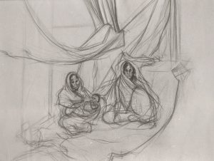 Michael Chaitow artist, painter, artwork, original artwork, painting. Indian Leaves, Two Women and Child, pencil 1993