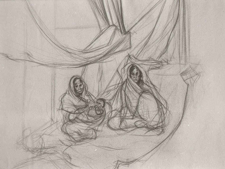 Michael Chaitow artist, painter, artwork, original artwork, painting. Two Women and Child, pencil 1993.