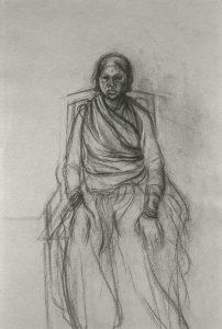 Michael Chaitow artist, painter, artwork, original artwork, painting. Indian Leaves, Seated Man, pencil 1973