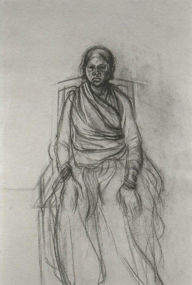Michael Chaitow artist, painter, artwork, original artwork, painting. Seated Woman, pencil 1973.