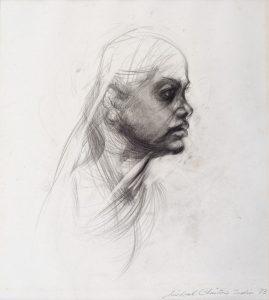 Michael Chaitow artist, painter, artwork, original artwork, painting. Indian Leaves, Indian Girl, pencil, 1973