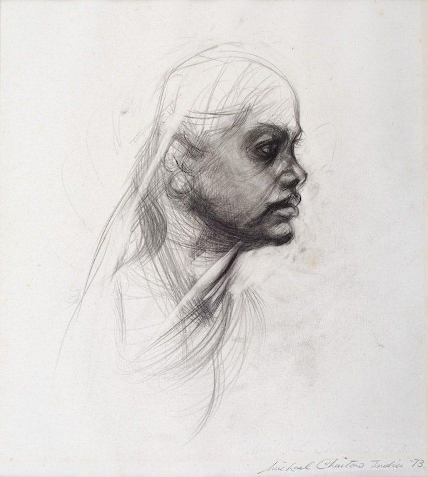 Michael Chaitow artist, painter, artwork, original artwork, painting. Indian Girl, pencil 1973.