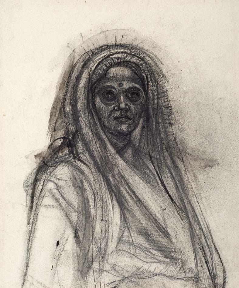 Michael Chaitow artist, painter, artwork, original artwork, painting. Indian Woman II, pencil 1973.