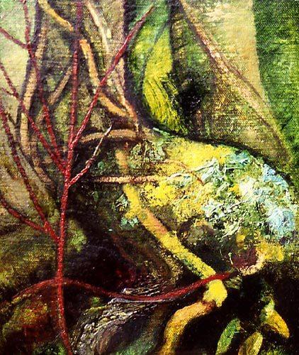 Michael Chaitow artist, painter, artwork, original artwork, painting. Base of Tree, oil 2001.